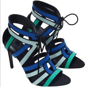 Zara Lace Up Black Blue High Heel Stiletto EUC 9